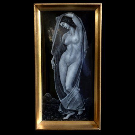 Emil Meier nude enamel plaque in monochrome
