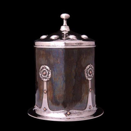A E Jones silver tea caddy, arts and crafts tea caddy