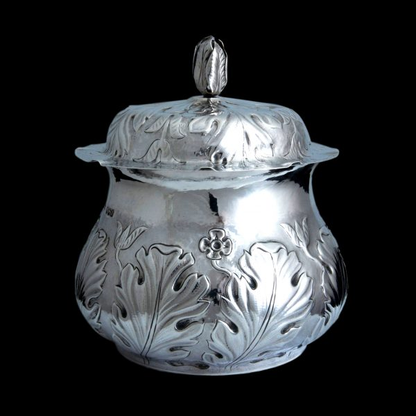 arts craft silver caddy, connells of cheapsidesilver