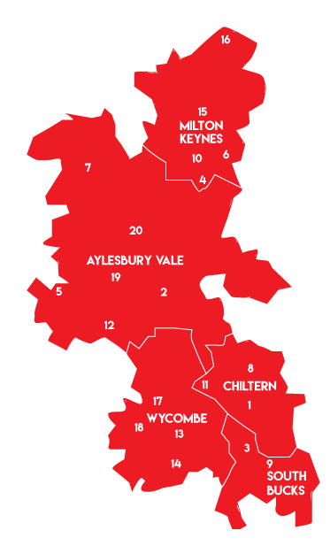 a rough map of buckinghamshire and milton keynes with our station locations as numbers