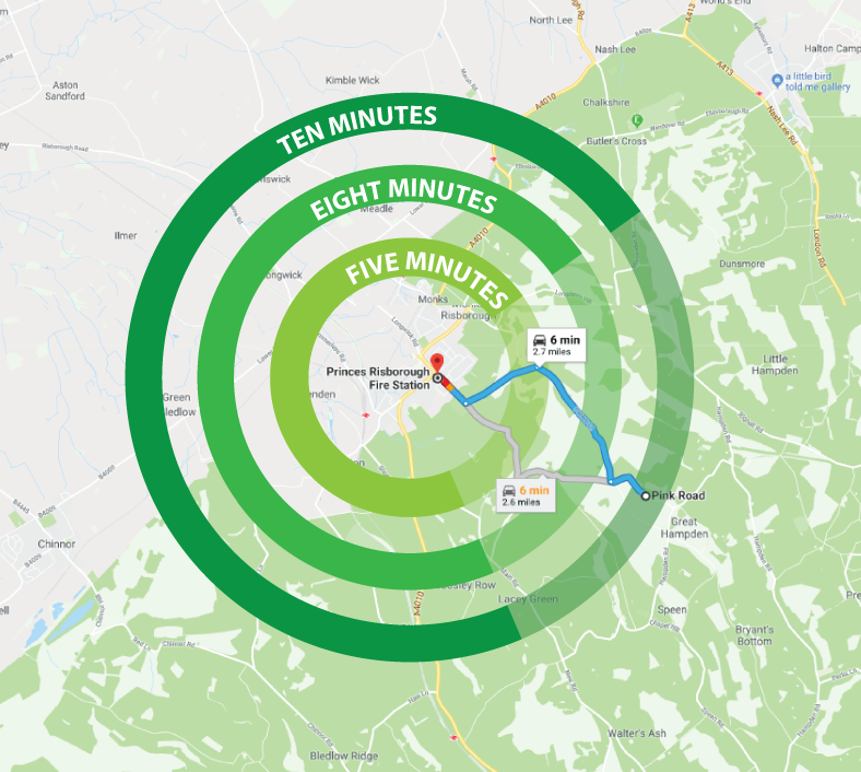 map with bulls-eye showing response times