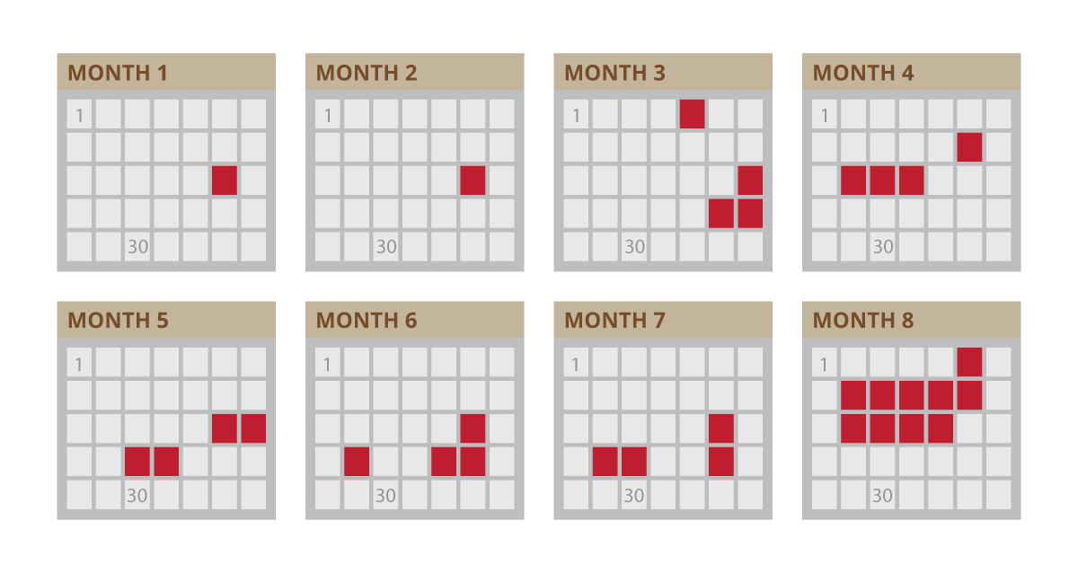 eight month training calander with sporadic days filled ind