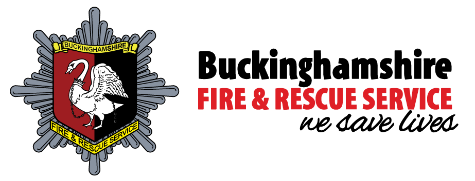 "Bucks fire and rescue badge and logo with slogan ""we save lives"""