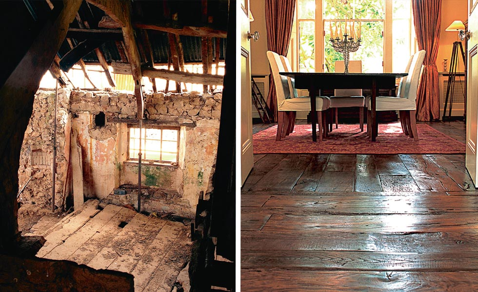 Original floorboards within a 14th-century building; Antique sawn boards from Victorian Woodworks
