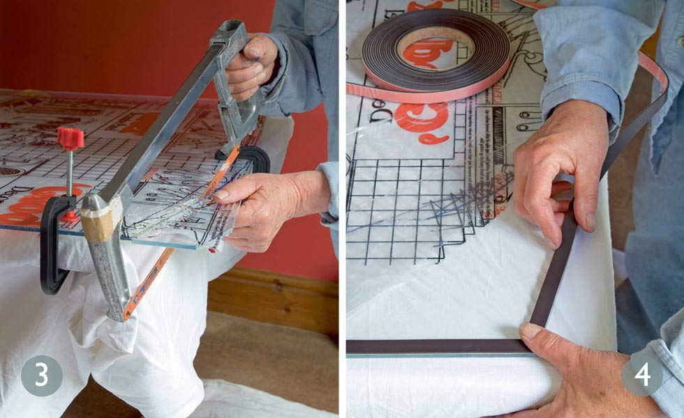 Cut carefully by hand; Apply magnetic strip