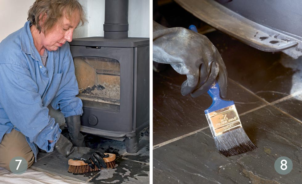 Clean the hearth ready for sealing; Apply slate oil to the hearth