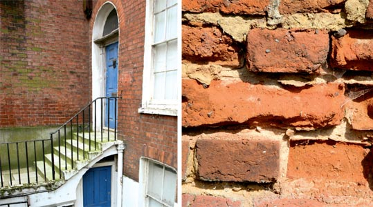 This gracious 18th-century house has been allowed to slide into neglect; Traditional lime mortar, rather than cement, should have been used to repair this brickwork