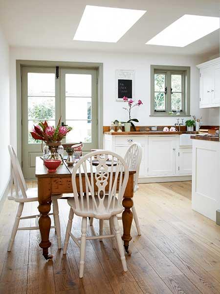 light filled kitchen diner in a shrimpers cottage