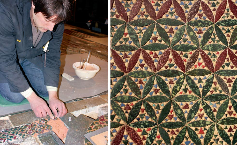 Conservator Ned Schärer beds new tesserae into lime mortar; the patterns are traditional Cosmatesque