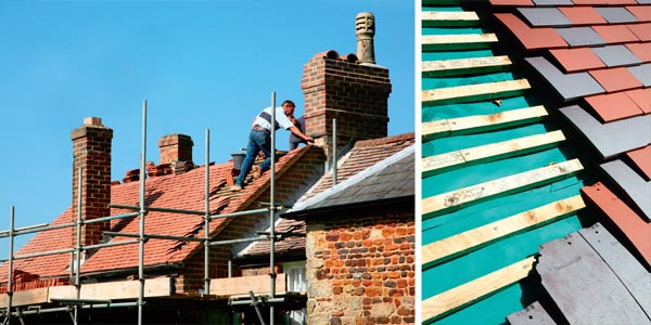 Roofers carrying out repairs; A partially-constructed roof