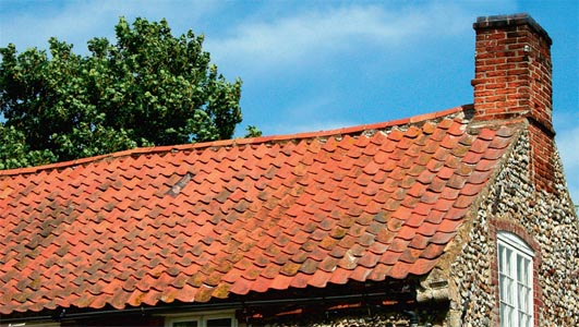 A pantile roof with a sagging ridge