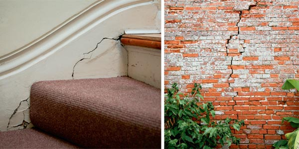 Carcks on a staircase; Large cracks in brickwork