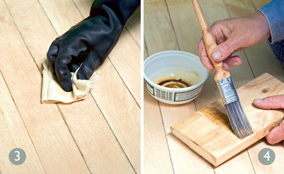 Remove any layers of sawdust; Apply new wood stain