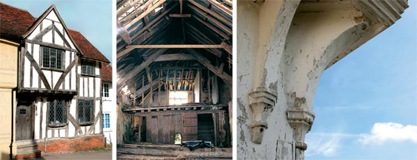 A medieval timber framed house; Timber frame repair; Timber frame carving detail