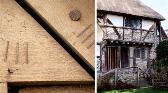 Original carpenter' marks; A timber framed house