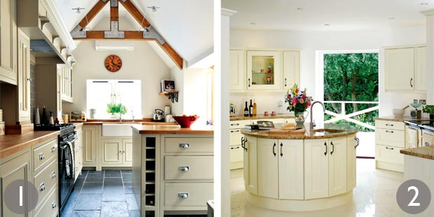 L-shaped kitchen; Circular kitchen island