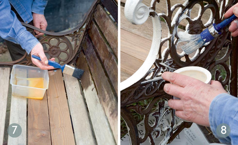 Restoring a garden bench steps 7 and 8