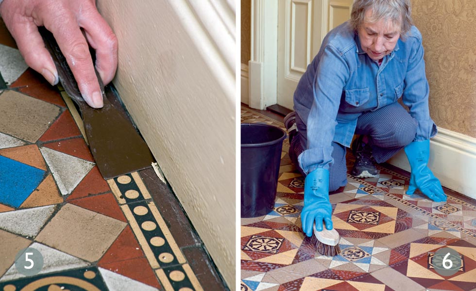 How to repair original tiled floors steps 5 and 6