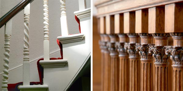 Period barley twist spindles on an open string staircase; Original late Georgian balusters