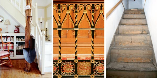 Simple staircase in a 200 year old cottage; Ornate Victorian wrought iron baluster; Well-worn oak stairs