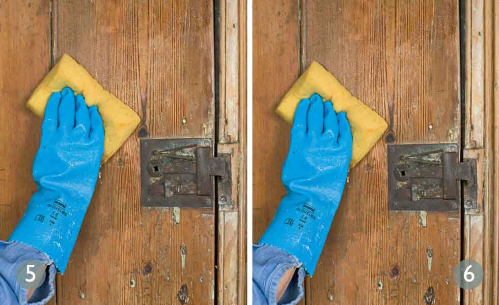 Scrub away residue with water after stripping paint; Wipe away salty deposits