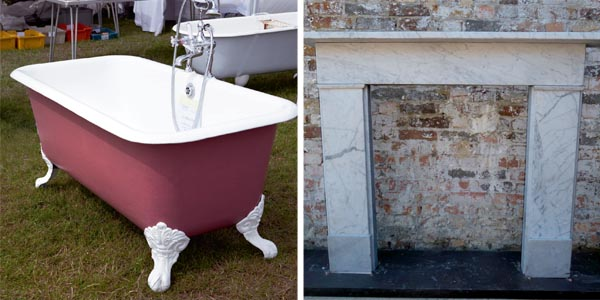 Victorian roll-top bath; Early 19th century Carrara marble fire surround sourcing