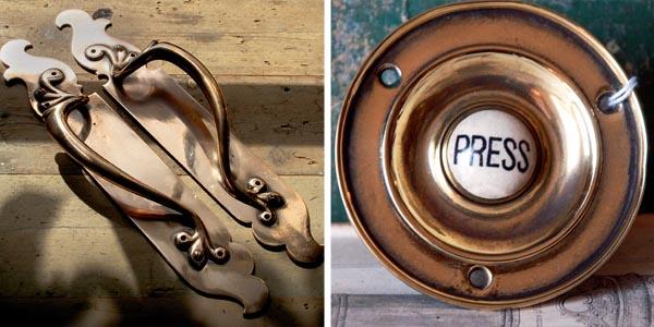 Brass door handles; Victorian bell push sourcing