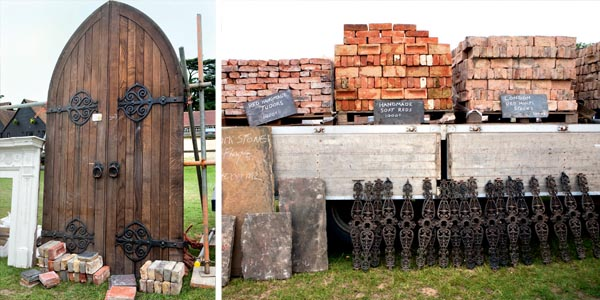 A Gothic style oak door; Reclaimed handmade bricks and hand-cut York flagstones sourcing
