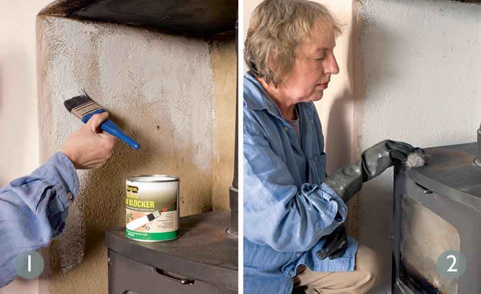 Remove soot and tar on the plaster; Repair rust patches on the stove