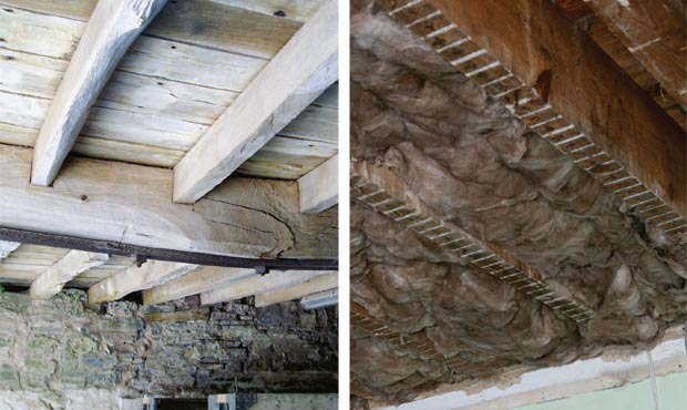 Insulating the floor from underneath; Quilt insulation