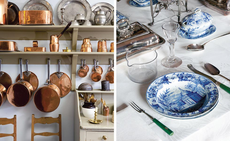 Copper pots and pans; a typical table setting
