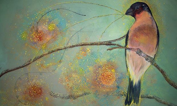 An oil painting of a bullfinch