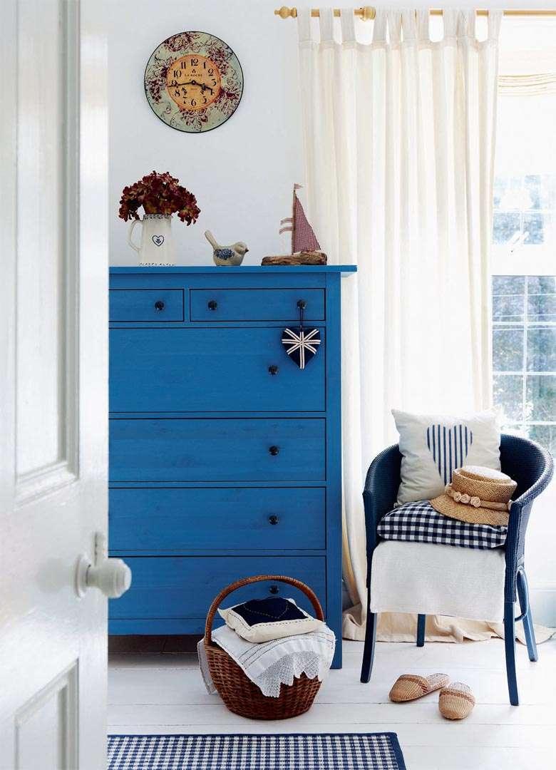 Blue dresser in bedroom