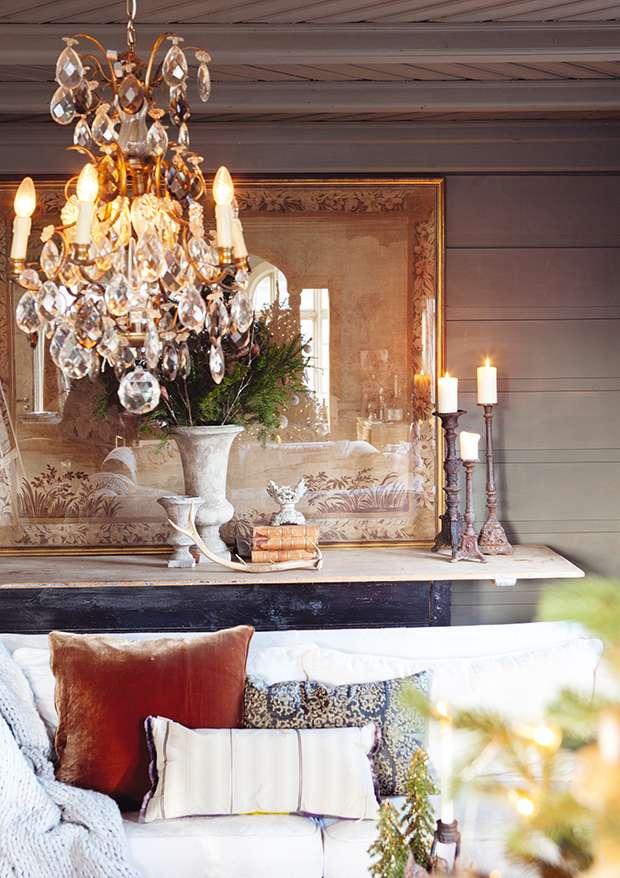 Living room details in Norwegian cottage