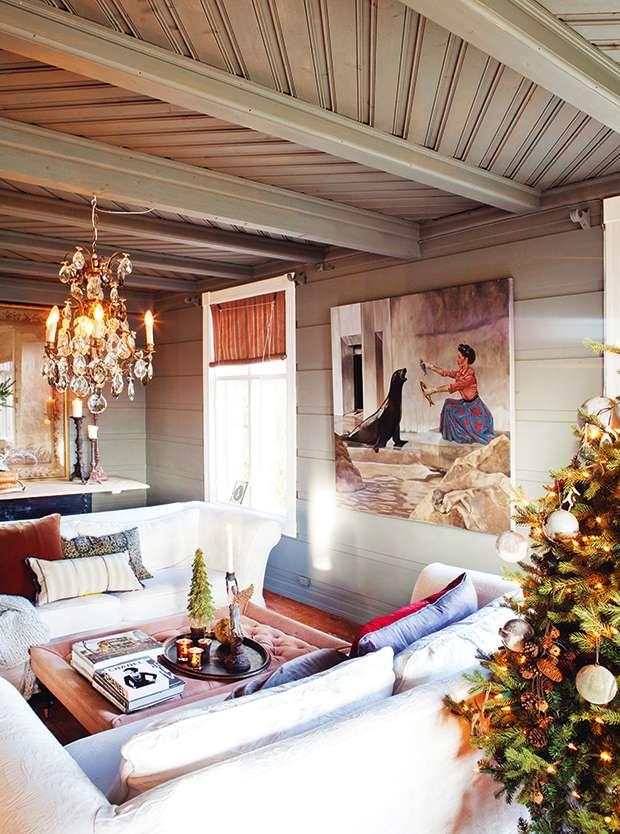 Living room in Norwegian cottage