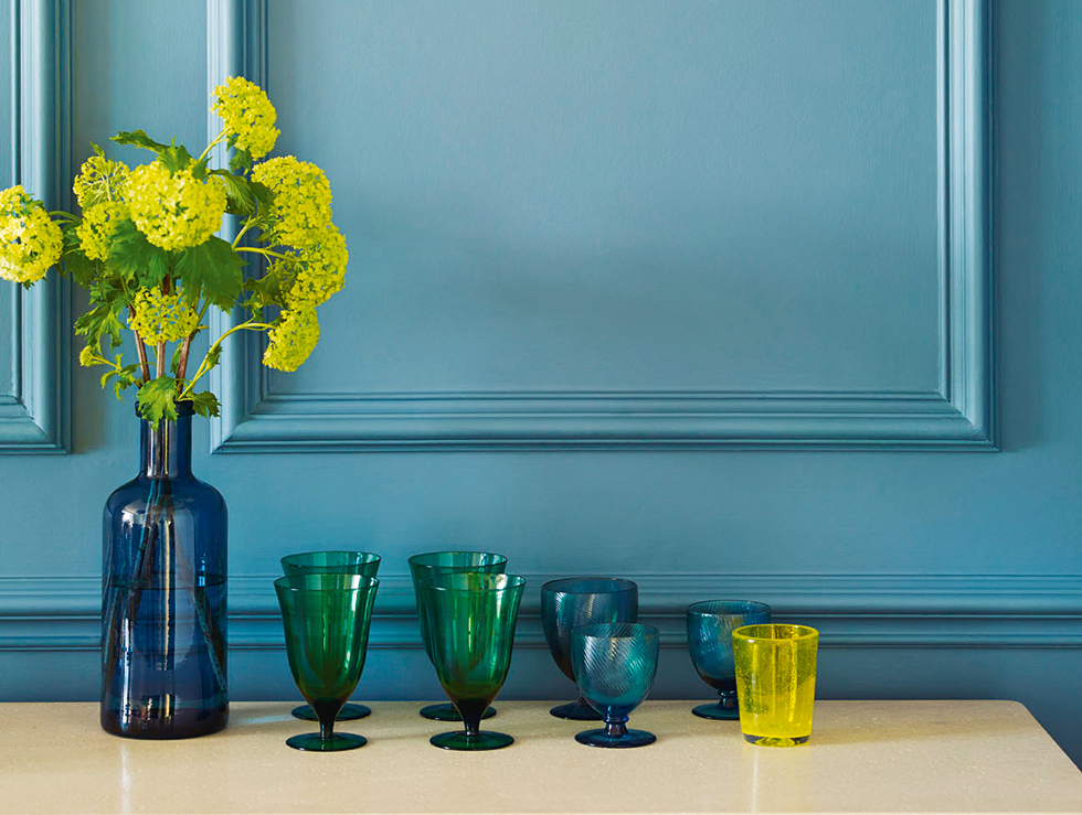 Wall painted in Azurite by Edward Bulmer from the Pots of Paint collection
