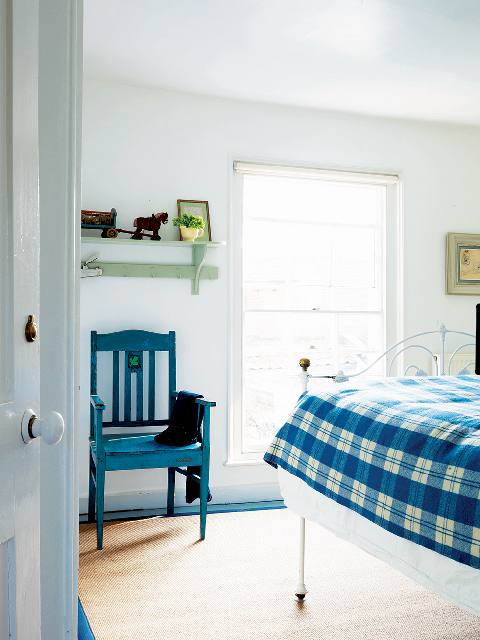 Bedroom with blue colour