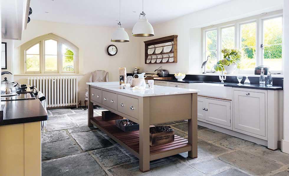 Martin Moore Sutton kitchen with stone floor and kitchen island