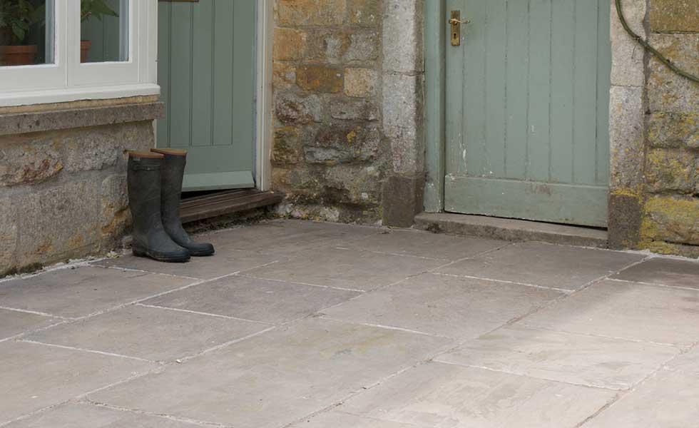 Old London Sandstone slabs by Artisans of Devizes in front of back door