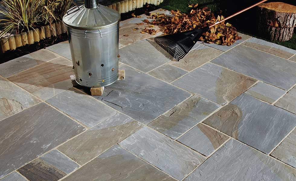 Old York Cragstone natural paving slabs and garden incinerator