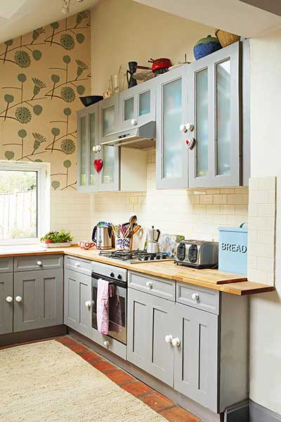 Victorian pattern house painted grey kitchen units