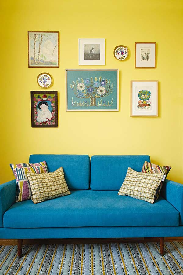 colourful zesty yellow living room