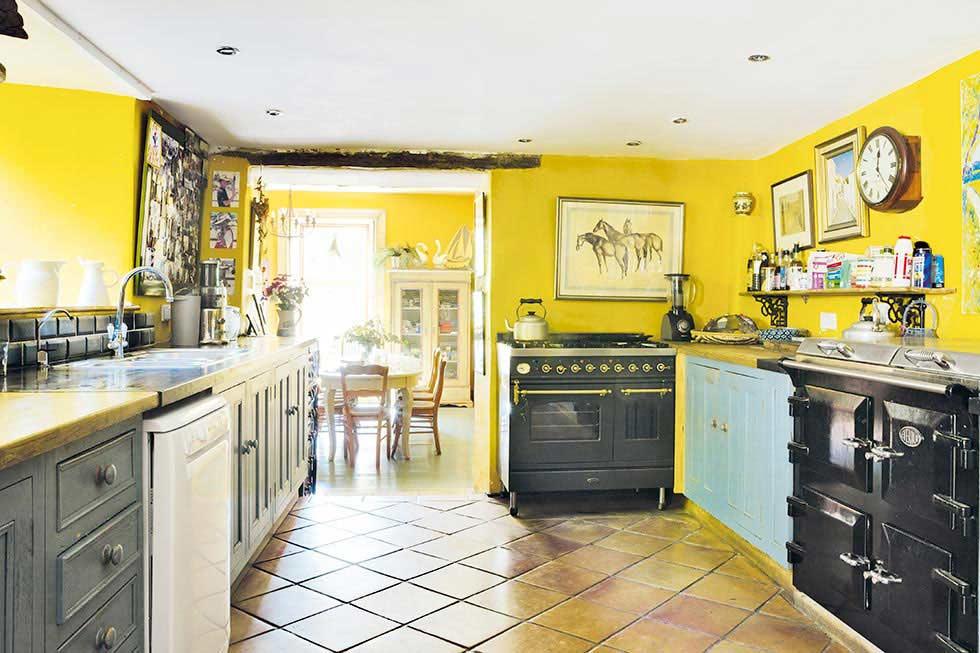bright yellow colourful kitchen