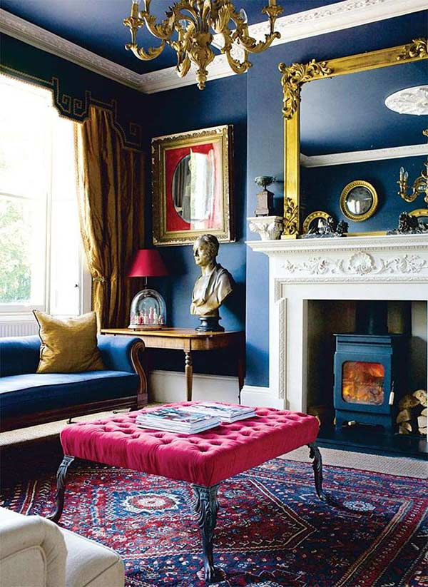 colourful regency townhouse with a velvet foot stool