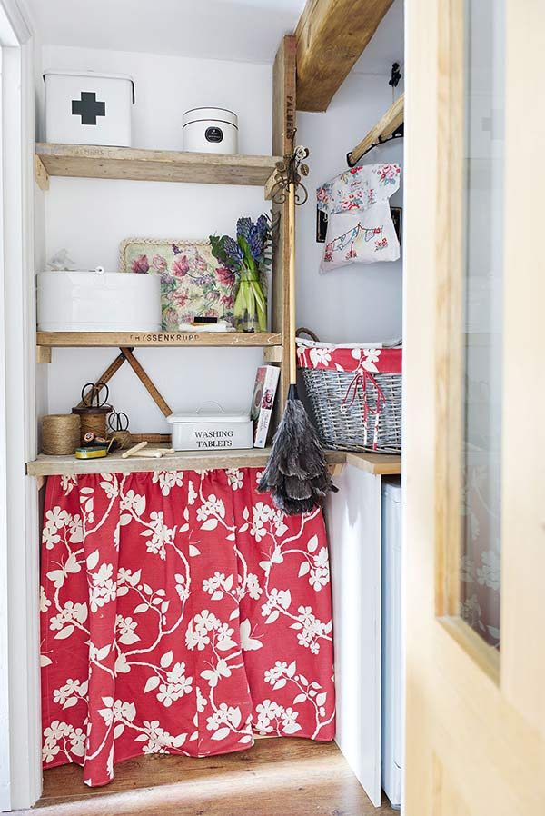 curtained off worktop storage with vanessa Arbuthnott storage