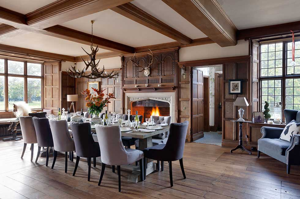 country lodge style formal dining room in a grand house