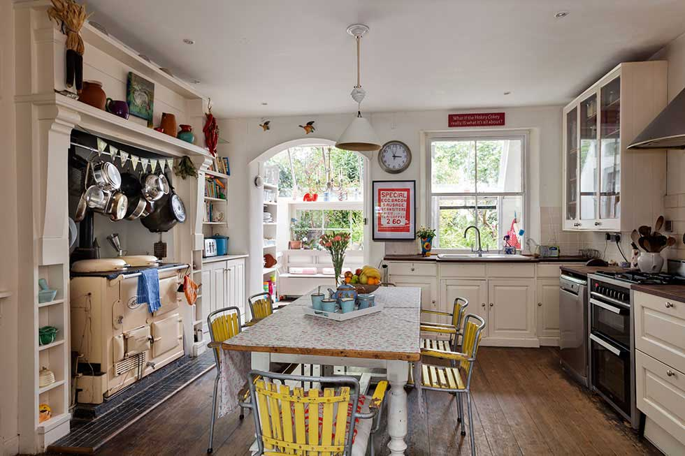 country style freestanding kitchen in a colourful Victorian villa