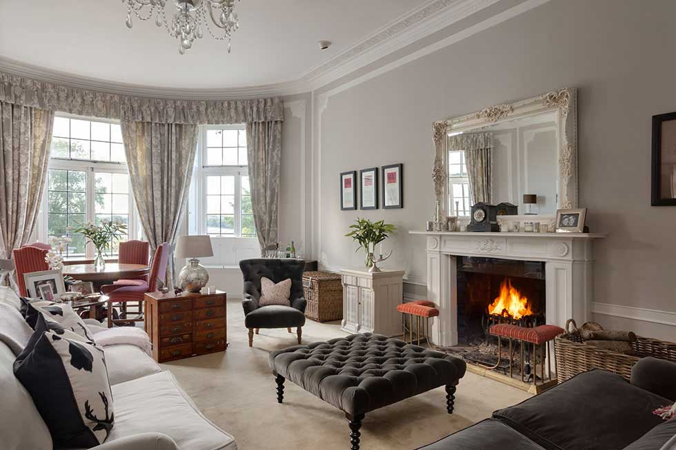 large country style living room in a grand house