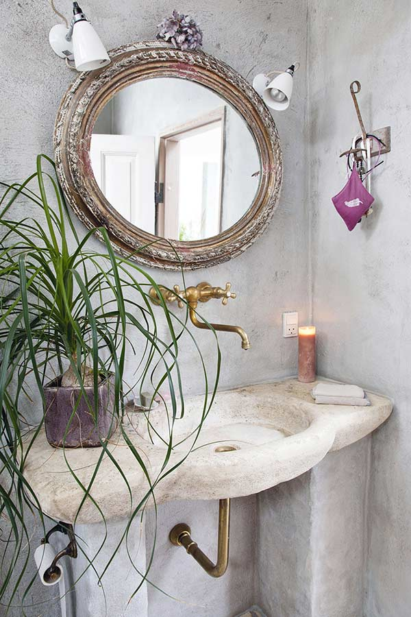 concrete bathroom sink in a danish country retreat