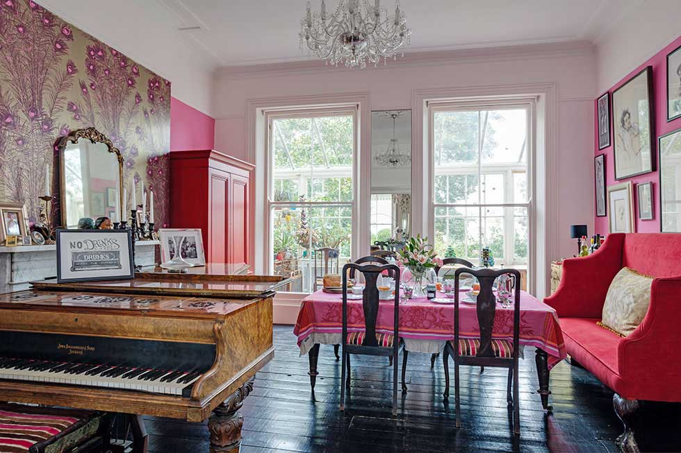 sanded and refinished floorboards in a colourful victorian villa